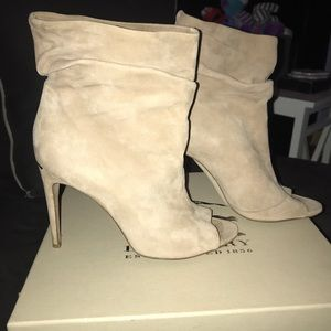 Burberry Suede Peep Toe Ankle Boot